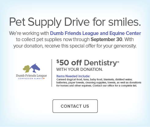 Lone Tree Dentists and Orthodontics -  Dumb Friends League and Equine Center Pet Supply Drive